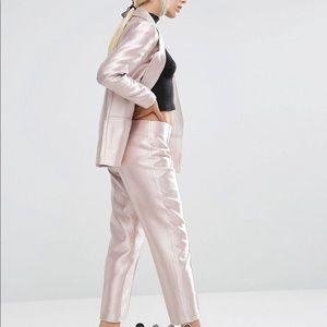 Asos petite Metallic Pink Pants Suit